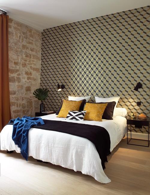 un papier peint motifs forts. Black Bedroom Furniture Sets. Home Design Ideas