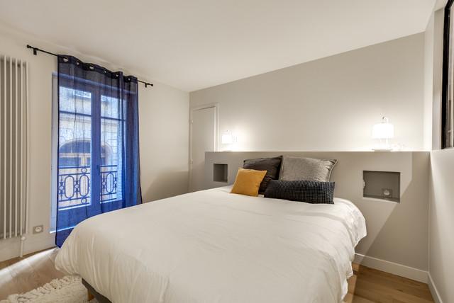 r novation d 39 un appartement de 50m2 paris 16 contemporain chambre paris par gommez. Black Bedroom Furniture Sets. Home Design Ideas