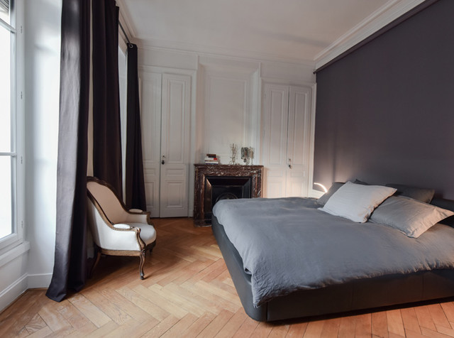 r novation d 39 un appartement haussmannien lyon 06 moderne chambre lyon par marion lano. Black Bedroom Furniture Sets. Home Design Ideas