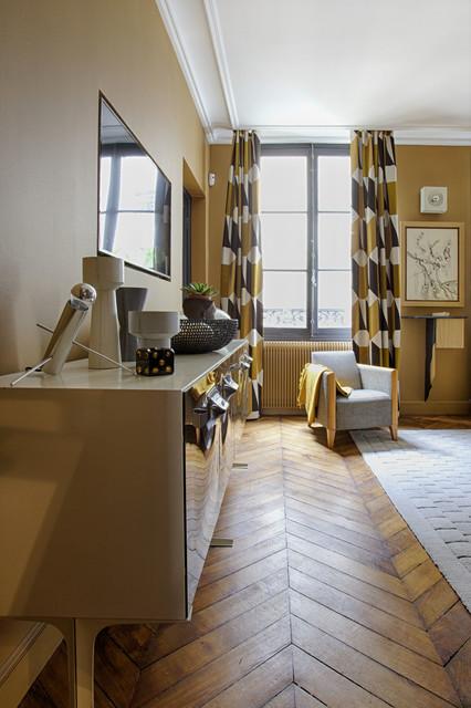 Rideaux géométriques dans un appartement haussmanien eclectique-chambre