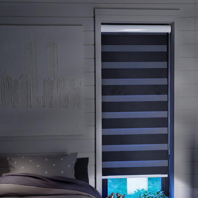 store enrouleur jour nuit noir occultant moderne. Black Bedroom Furniture Sets. Home Design Ideas