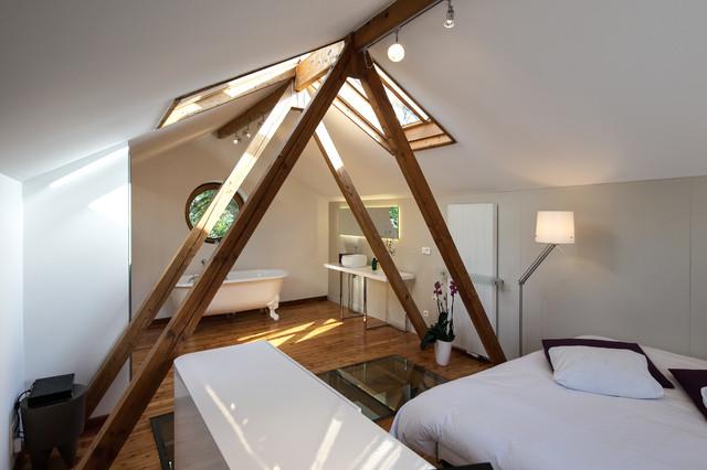 Suite parentale avec salle de bain contemporain - Amenagement chambre parentale avec salle bain ...