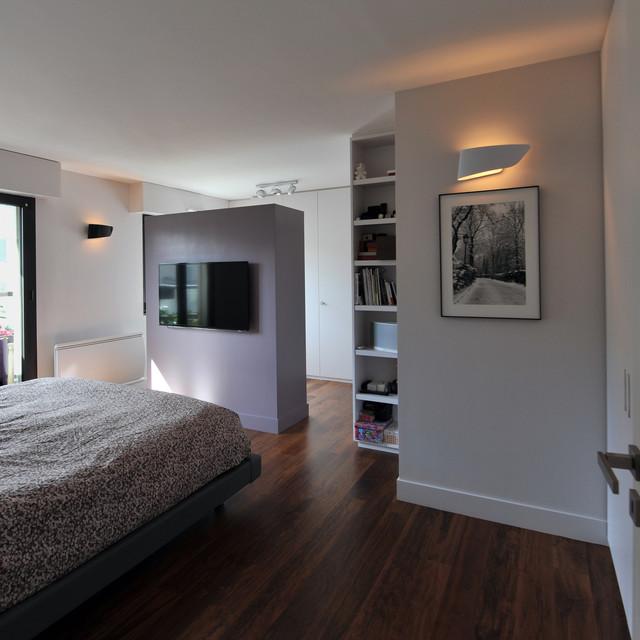 Suite parentale : chambre, dressing et salle de bain - Moderne ...