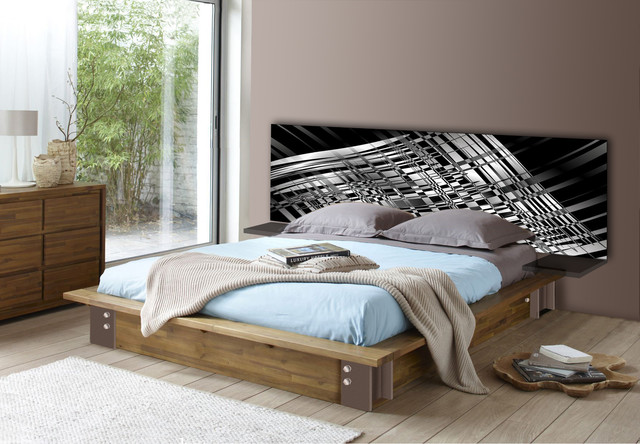 t te de lit mod le black white contemporain. Black Bedroom Furniture Sets. Home Design Ideas