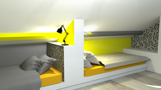 Visuel 3D pour la décoration d\'une chambre mansardé pour ...