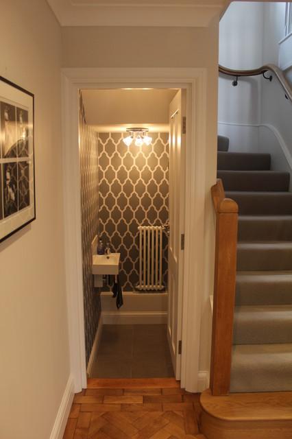garage landing and stairs ideas - 1920 s Property Refurbishment Hertfordshire Down stairs