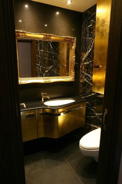 Black gold brown bathroom modern cloakroom london for Black and gold bathroom decor
