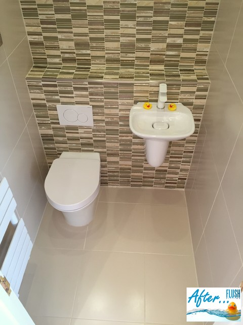 Cloakroom Toilet Makeover In Barnt Green Contemporary Cloakroom West Midlands By Flush