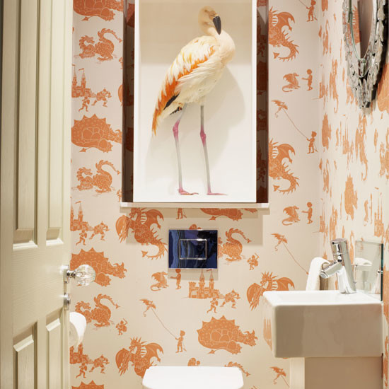 Downstairs loo dragon wallpaperContemporary Powder Room