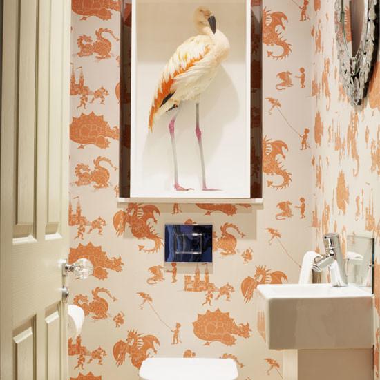 Downstairs loo dragon wallpaperContemporary Powder Room