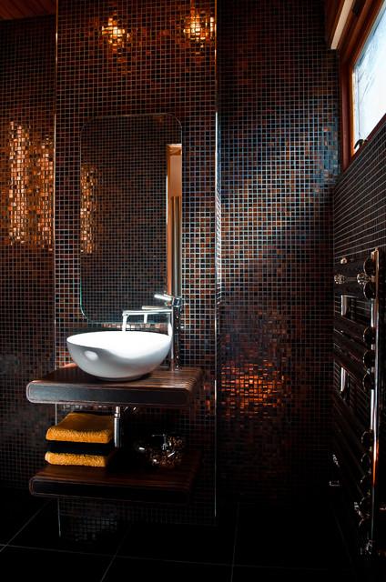 Design Washroom stylish copper mosaic washroom design - contemporary - powder room