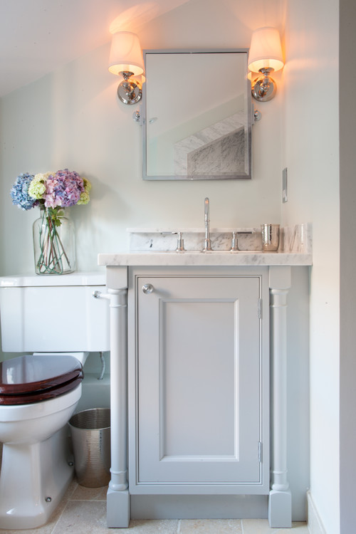 Luxury Traditional Powder Room by London Interior Designers u Decorators Lisette Voute Designs