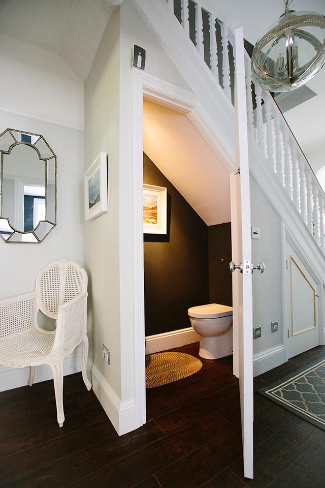 Elegant powder room photo in London