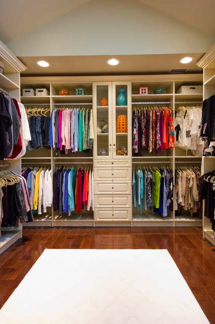 Amazing closet that feels like a high end boutique traditional-closet