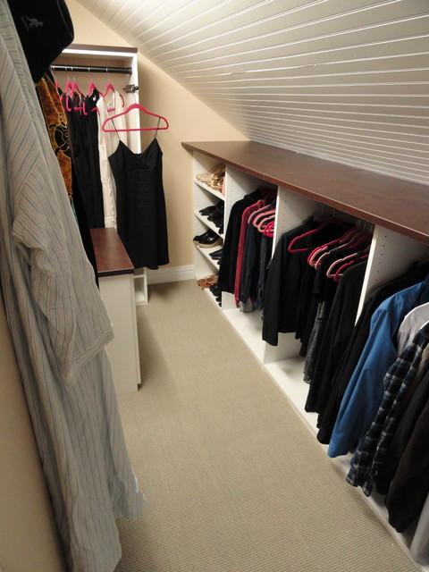 slanted roof closet ideas - Angled Roofline Walkin Closet Contemporary new york