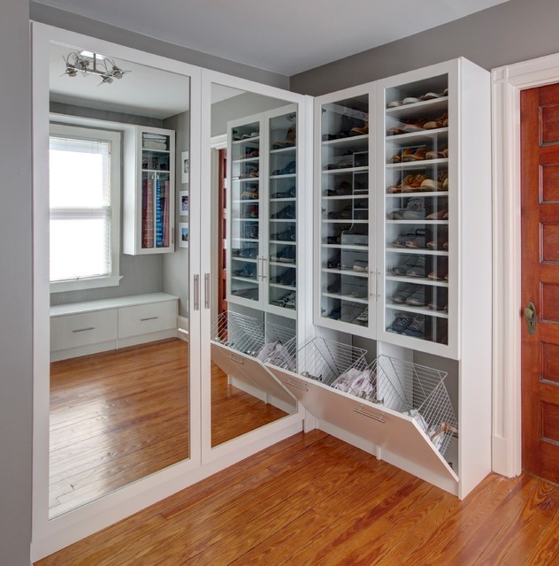 Beautiful White Custom Closet Transitional Closet