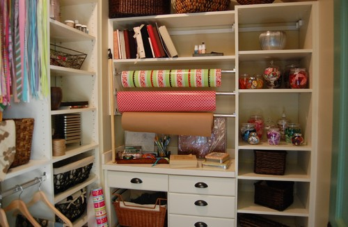 Closets can also be turned into ideal storage spaces for gift wrappers