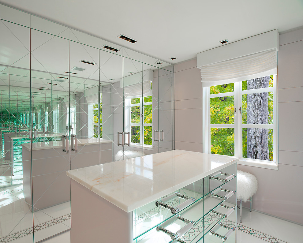 Inspiration for a small contemporary women's ceramic tile dressing room remodel in New York