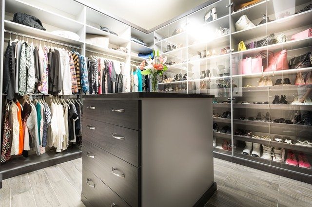 Calabasas his and hers walk in closets modern closet for His and hers closet
