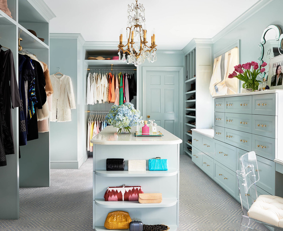 Dressing room - large traditional women's carpeted and gray floor dressing room idea in Charlotte with recessed-panel cabinets and blue cabinets