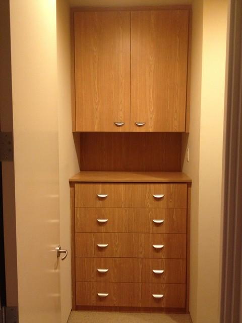 Castle Oak melamine wood essence finish. closet