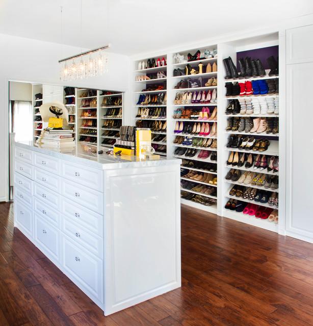 Celebrity Home Dressing Room transitional-closet