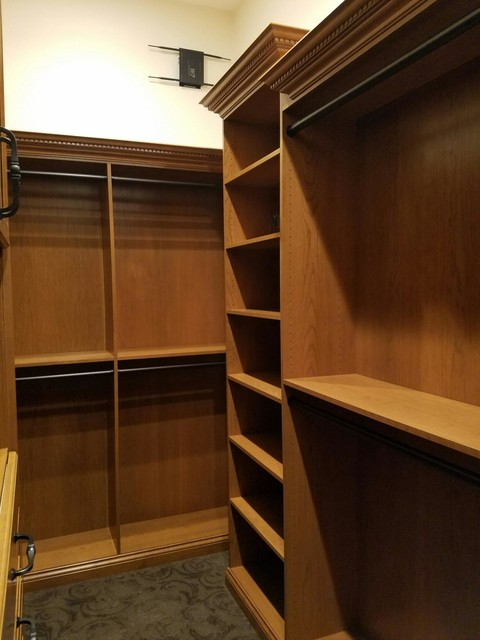 Cherry Wood Veneer His and Hers Closets - Traditional - Closet - indianapolis - by Hoosier Closets