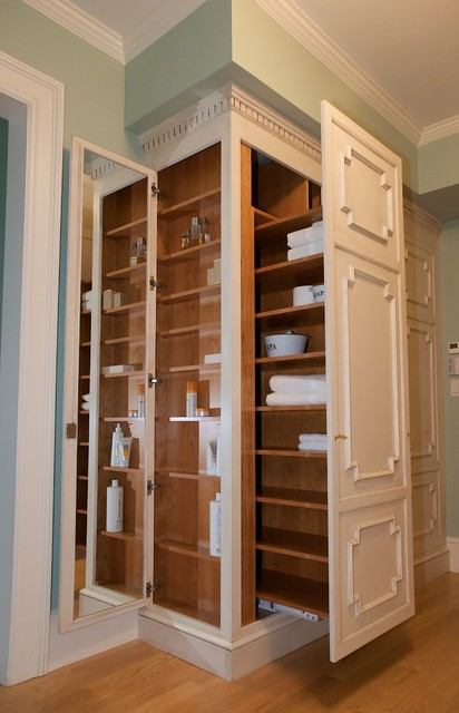 Closet Door Storage Ideas   Chestnut Hill Built In Wall Storage Traditional  Closet