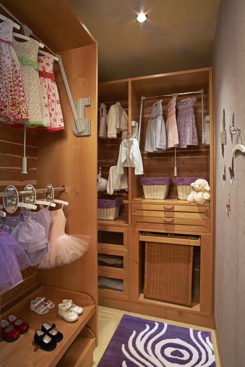 Narrow walk in closet