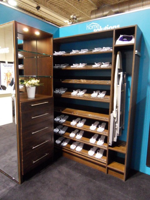 Wooden Shelves For Closet : Wood Solutions ? Adjustable Shoe Shelves  Traditional Closet