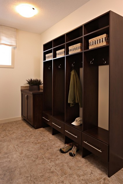 Chocolate Wood Solutions Mudroom Lockers - Traditional - Closet