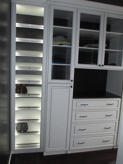 Closet W Lighted Slant Shoe Shelves Glass Doors Raised