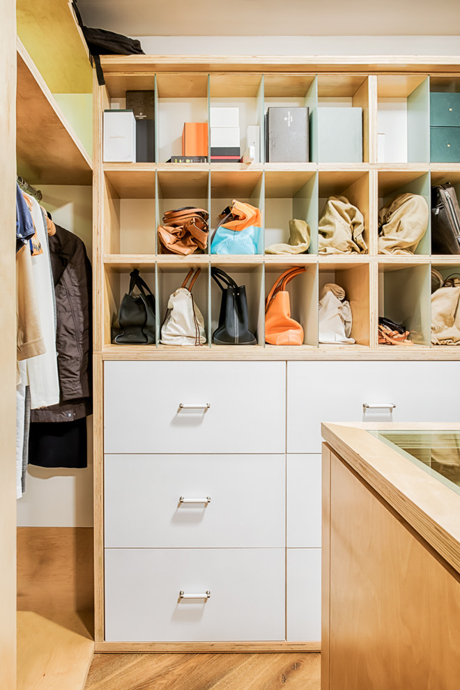 Large trendy gender-neutral medium tone wood floor walk-in closet photo in Miami with white cabinets and flat-panel cabinets