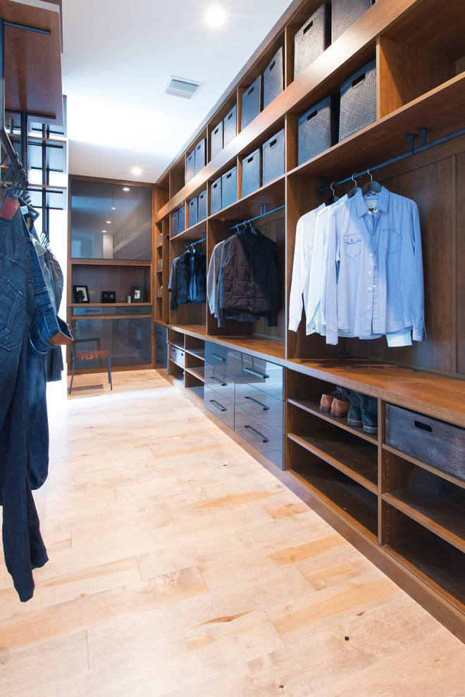 Walk-in closet - mid-sized contemporary men's light wood floor and beige floor walk-in closet idea in Orlando with open cabinets and dark wood cabinets