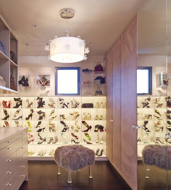 Custom Closet With LED Panels Contemporary Closet