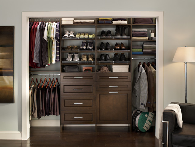 Cleaned-up mens closet contemporary closet