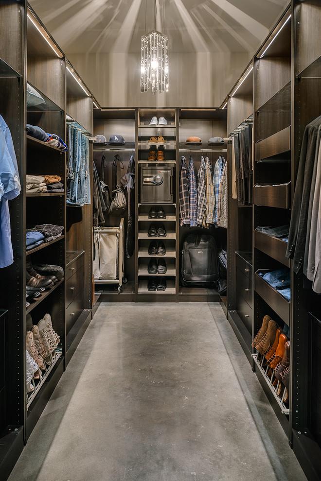 Trendy men's concrete floor dressing room photo in Vancouver