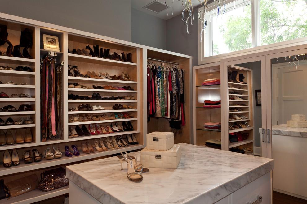 Trendy closet photo in Miami with white cabinets