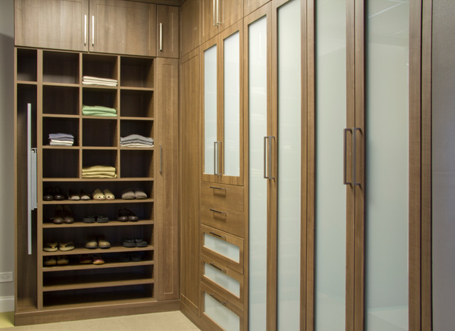 Copa Cabana Built In Closet With Frosted Glass Inserts Modern Wardrobe