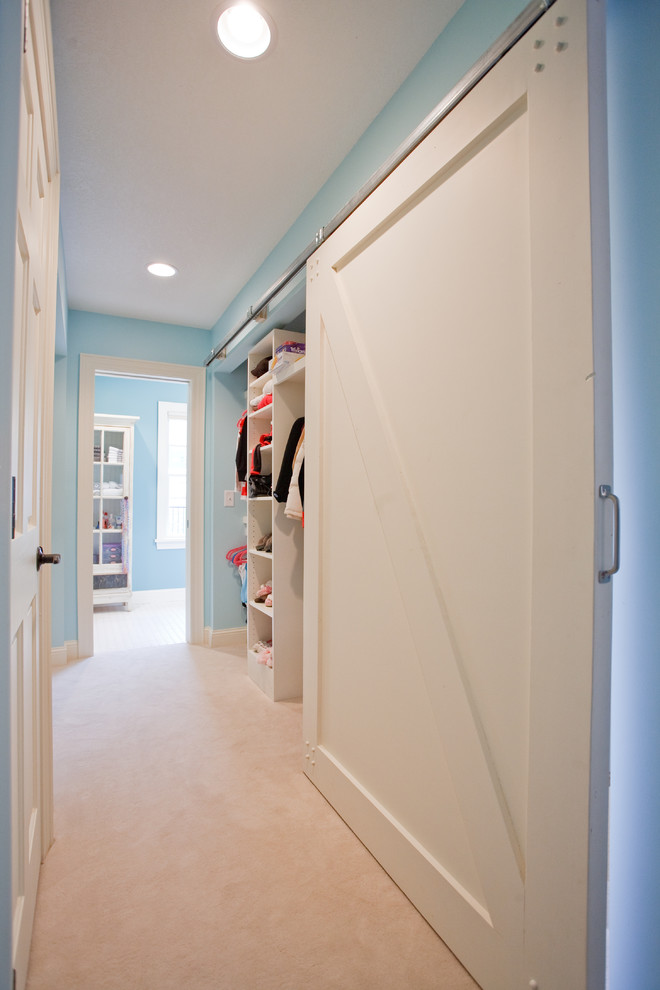 Example of a classic carpeted closet design in Minneapolis