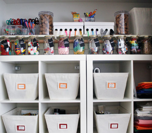 organizing a closet can use a few big storage bins, or lots of little jars for craft materials