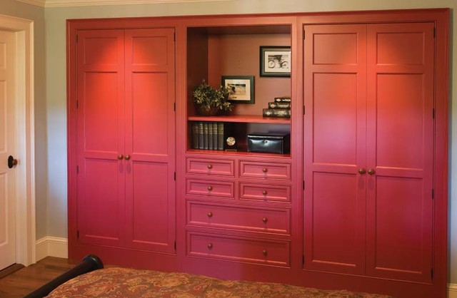 High Quality Custom Built In Closet Red Traditional Closet