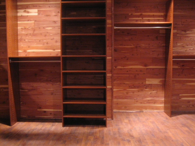 Custom Closet In Basement Traditional