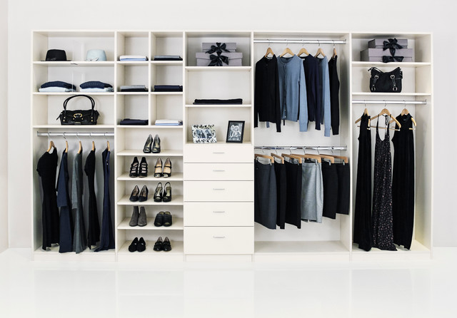 Large Elegant Gender Neutral Reach In Closet Photo In Los Angeles With  White Cabinets