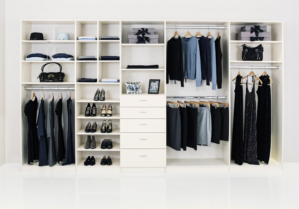 Large elegant gender-neutral reach-in closet photo in Los Angeles with white cabinets and flat-panel cabinets