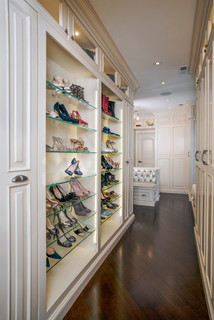 Custom Couture Master Closet with Glass Shoes Display Shelving - Traditional - Closet - Chicago