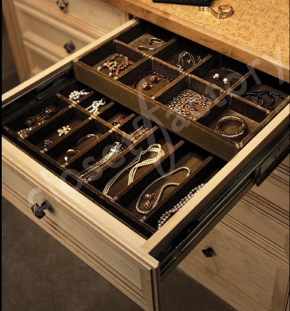 Custom Double deck jewelry drawer contemporary-closet