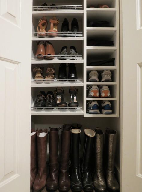 Wonderful Custom Shoe Closet With Slanted And Flat Shelves Transitional Closet