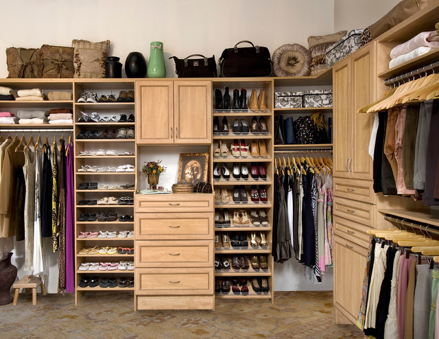 Custom Walk In Closet Organizers: Candlelight Contemporary Closet