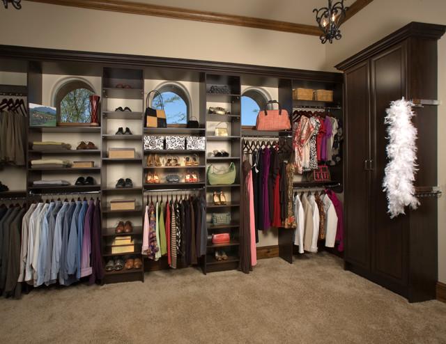 Custom Walk-In Closet Organizers: Chocolate Pear contemporary-closet